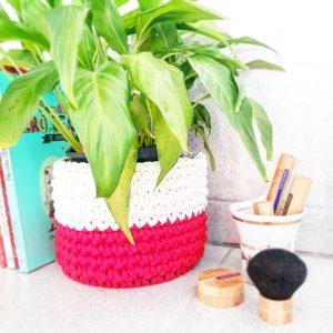 cache-pot trapilho | cache-pot blanc et rouge