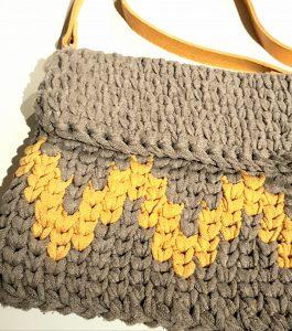 pochette crochet | bandoulière cuir jaune