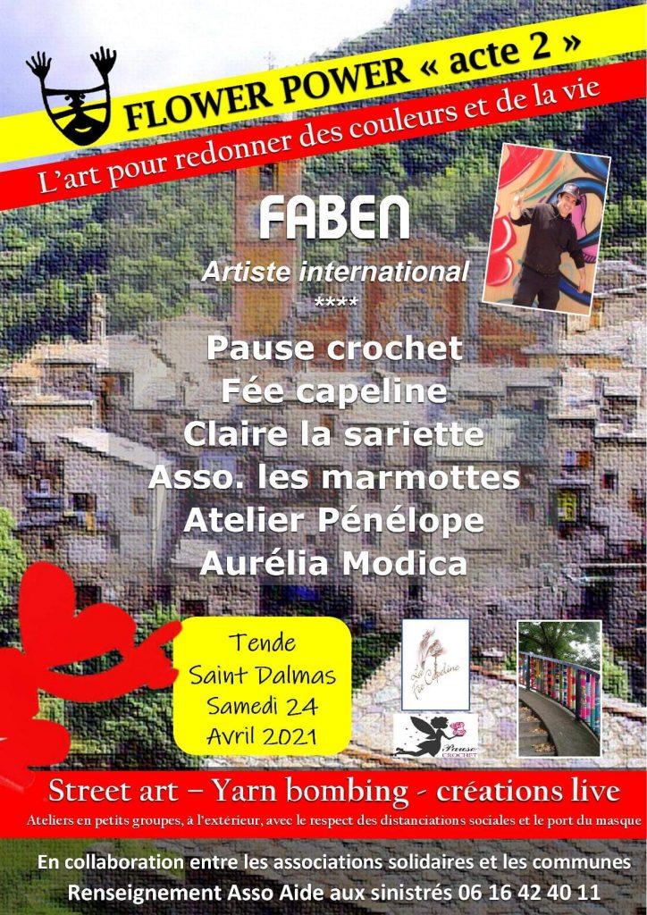 affiche Flower power | noms des participants |journée de solidarité | ville de Tende | 24 Avril 2021