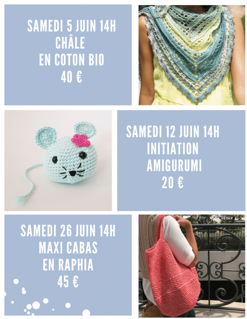 souris crochet | chale |cabas raphia | planning atelier crochet